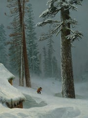 """Albert Bierstadt, """"California, Summit CPRR, Winter of 1872,"""" 1872, Oil on paper, 19 x 14 inches, Private Collection. This painting is currently on view at the Nevada Museum of Art in downtown Reno as part of """"Tahoe: A Visual History."""""""