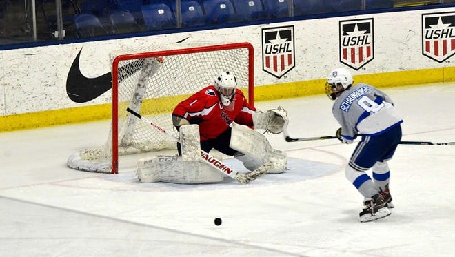 Livonia Franklin goalie Will Augustine and Salem forward Alex Schaumburger (9) keep an eye on the bouncing puck Saturday at USA Hockey Arena in Plymouth.