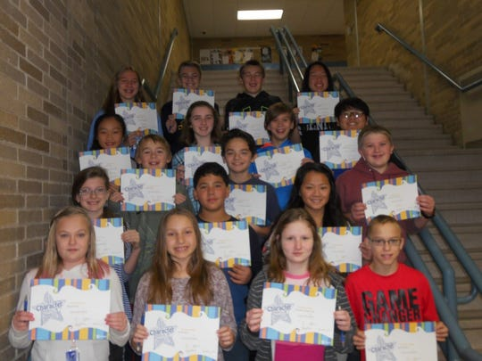 John Muir Middle School's Citizens of the Month for November are first row from left, Magiq McNair, Brooke Heise, Alexandra Selander-Pink and Caleb Cychosz. Second row: Kylie Slaughter, Gabriel Ramos, Diana Lor. Third row: Kaden McKee, Asa Battino, Alexander Whitaker. Fourth row: PaYeng Xiong, Emily Johnson, Sawyer Mork, Yengfone Xiong. Fifth row: Mallory Names, William Zellner, Kory Rieth and Paterjah Lo.