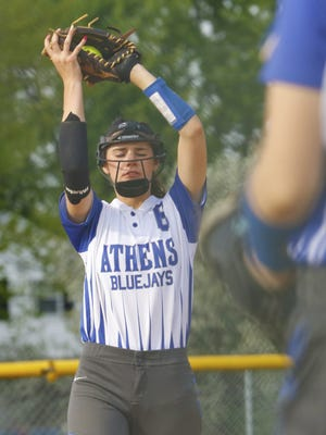 Athens shortstop Kaitlyn Brooks brings in a pop up during the second inning of a WIAA Division  4 softball regional semfinal against Montello on Wednesday.