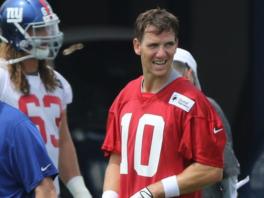 Quarterback, Eli Manning takes a break during practice.