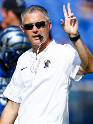 University of Memphis head coach Mike Norvell during pregame warm ups before taking Navy at Liberty Bowl Memorial Stadium in Memphis, Tenn., Saturday, October 14, 2017.