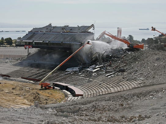 Crews worked on the demolition of Candlestick Park