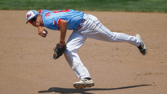 D-BAT Elite's Logan Kohler prepares to throw to first to complete an out against Southern California Renegades Thursday during Game 9 of the Connie Mack World Series at Ricketts Park in Farmington.