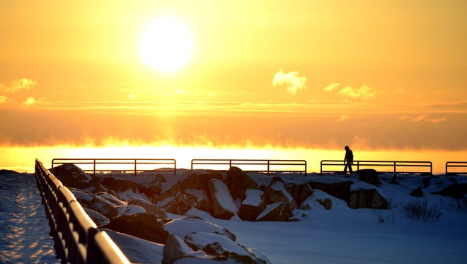 Ryan Zeller won a Pure Michigan photo contest with this photo of a sunrise over the Lexinton harbor last winter.