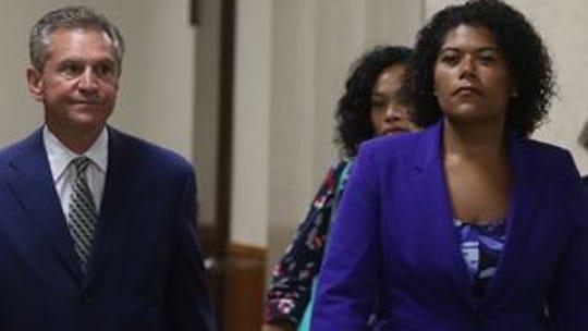 Judge Leticia Astacio and her lawyer, Ed Fiandach,