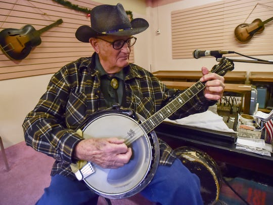 Dick Boschert plays a four-string banjo from the 1920's