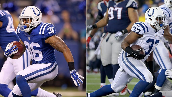 The Colts claimed running back Boom Herron off waivers and waived running back Zurlon Tipton.