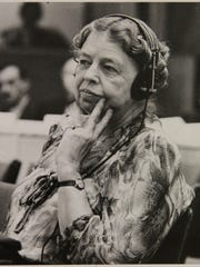 Delegate Eleanor Roosevelt at a meeting of the United