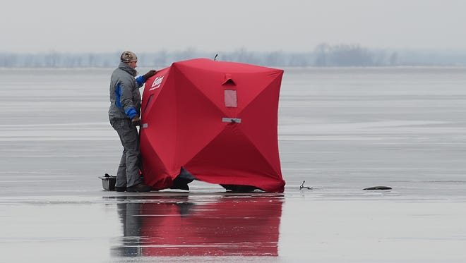 Not even thin ice will keep the avid ice fisherman away from the sport. With little ice remaining on the bay of Green Bay after the recent warm up, this fisherman and several others were trying their luck this week in the shallow waters off Nicolet Drive.