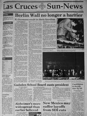 The Front page of the Las Cruces Sun-News, Friday November 10 1989.