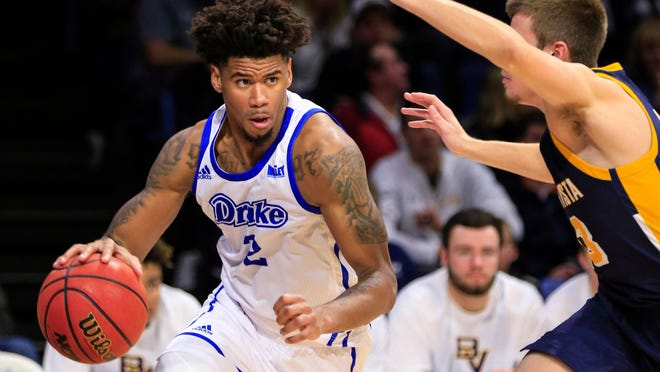 Drake's Tremell Murphy drives to the basket during a 2018 game against Buena Vista at the Knapp center in Des Moines, Iowa.