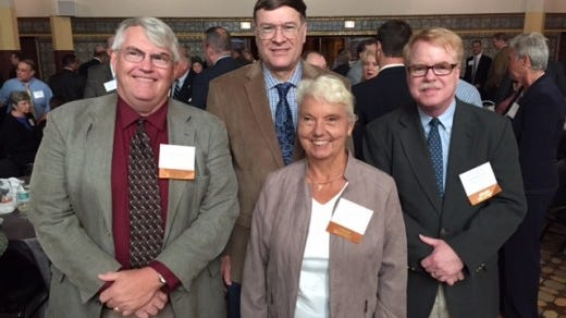 From left, Scott Mingus, Stephen Smith, June Lloyd and Jim McClure at the Preservation Pennsylvania awards ceremony Sept. 25 at the Zembo Shrine in Harrisburg. These Yorkblog history bloggers were honored for shining a light on local historic preservation efforts.