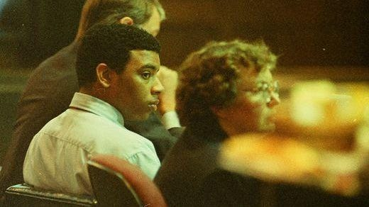 Phillip Davis, pictured here at age 19 during his 1997 murder trial, became the youngest person awaiting execution in North Carolina when an all-white jury sentenced him to death for the murder of Joyce Miller.