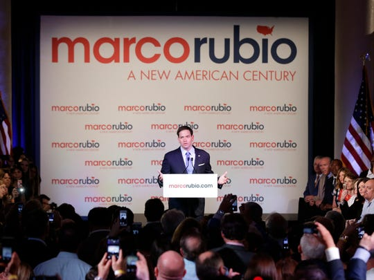 Florida Sen. Marco Rubio gestures as he speaks to supporters during his announcement that he is running for the Republican presidential nomination, during a rally at the Freedom Tower, Monday, April 13, 2015, in Miami.