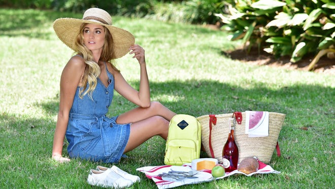 Shopping ListNothing says summer like a picnic in the park! And this J Brand denim dress ($248) is cool, durable, super-cute and up for the task! Accessorize with a wide-brimmed hat for style and sun protection. This Sol and Selene backpack adds functionality and a bright pop of color — this season's big news. Sneakers, also huge this summer, are a perfect finish for this summer look.Picnic items compliments of The Bodacious Olive, 407 S. Palafox St., Pensacola; 850-433-6505; bodaciousolive.com.
