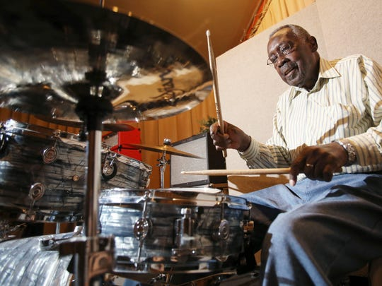 In this Sept. 4, 2015 photo, legendary drummer Clyde Stubblefield plays a set on the drums at Sosonic studio before a performance to raise money for a scholarship fund established in his name in Madison. Stubblefield, a drummer for James Brown who created one of the most widely sampled drum breaks ever, died Saturday, Feb. 18, 2017, at age 73.