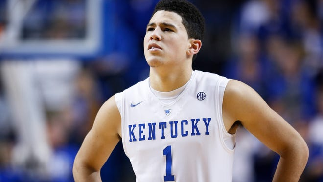 LEXINGTON, KY - JANUARY 20: Devin Booker #1 of the Kentucky Wildcats looks on against the Vanderbilt Commodores during the game at Rupp Arena on January 20, 2015 in Lexington, Kentucky. Kentucky defeated Vanderbilt 65-57. (Photo by Joe Robbins/Getty Images)