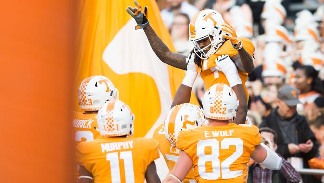 Tennessee wide receiver Marquez Callaway (1) celebrates a touchdown during a game between Tennessee and Vanderbilt at Neyland Stadium in Knoxville, Tenn., on Saturday Nov. 25, 2017.