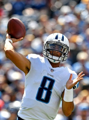 Tennessee Titans quarterback Marcus Mariota (8) passes in the third quarter at Nissan Stadium Sunday, Sept. 10, 2017 in Nashville, Tenn.
