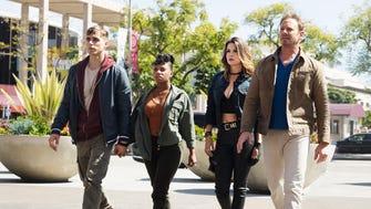 Cody Linely as Matt Shepard, Imani Hakim as Gabrielle, Masiela Lusha as Gemini, and Ian Ziering as Fin Shepard in Syfy's 'Sharknado: The Fourth Awakens.'