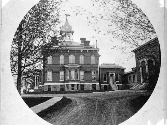 An 1888 view of Mary Fletcher Hospital.