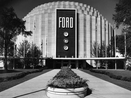 Ford Motor Company Rotunda in Dearborn. The aluminum geodesic dome was made from 19,680 aluminum struts