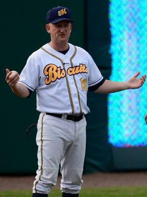 Montgomery Biscuits pitching coach R.C. Lichtenstein before the Mobile BayBears game at Riverwalk Stadium in Montgomery, Ala. on Sunday June 22, 2014.