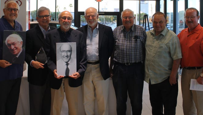 Local civic leaders came together for their induction into the Founders' Society of the Boys & Girls Club of Greater Ventura. Pictured from left are David Luna and Jim Rivera (on behalf of Dan Mandell), Michael Addison (on behalf of Bob Addison), Tom Hinkle, and brothers Ralph, Jim and Myron Harrison.
