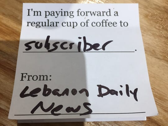 A pay-it-forward slip at Jonestown Coffee Co. will