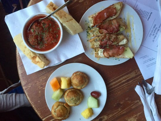 A selection of tapas and crostini are served at The