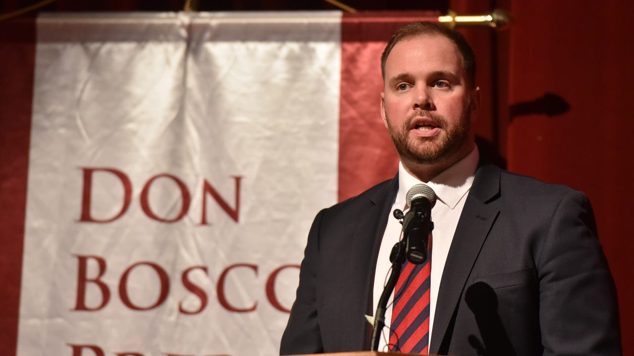 Mike Teel speaks at Don Bosco Prep on Thursday after being appointed the Ironmen's new head coach.