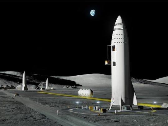 Artist rendering of SpaceX spaceships flying people to a moon base.