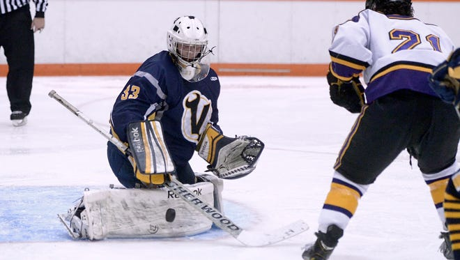 Victor goalie Chayse Ierlan, left, was named to  the 2015-16 Democrat and Chronicle All-Greater Rochester Hockey Team by coaches in Section V.