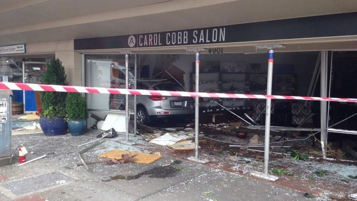 Six people were injured after a car crashed into the Carol Cobb Salon in Seattle Thursday afternoon.