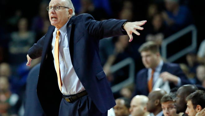 Miami head coach Jim Larranaga gestures during the first half of a second-round game against Wichita State in the NCAA men's college basketball tournament in Providence, R.I., Saturday, March 19, 2016. Miami won 65-57.