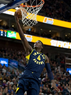 Jan 15, 2018; Salt Lake City, UT, USA; Indiana Pacers guard Victor Oladipo (4) goes up for a shot during the first quarter against the Utah Jazz at Vivint Smart Home Arena.
