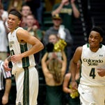Colorado State Rams forward Marcus Holt (30) and guard John Gillon (4) react at the end of the first half against the Nevada Wolf Pack at Moby Arena.