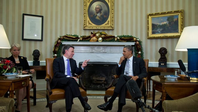 President Obama with Colombian President Juan Manuel Santos.