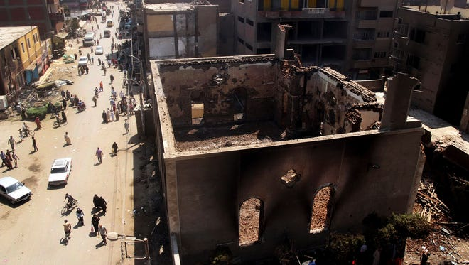 The Evangelical Church of Malawi, shown Aug. 17, was ransacked, looted and burned on Aug. 15 by an angry mob, in Malawi, Egypt.