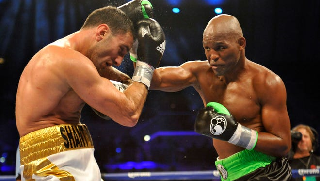 Bernard Hopkins, right, lands a right hand on Karo Murat's jaw during their IBF Light Heavyweight title bout at Boardwalk Hall. Hopkins won via unanimous decision.