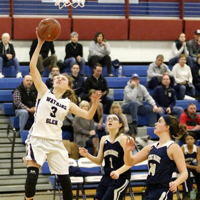 Hannah Morse of Watkins Glen goes in for a layup as