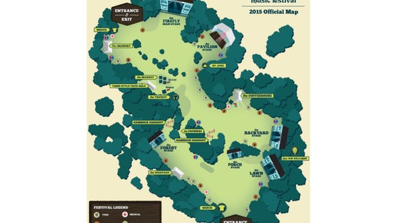 The 2015 Firefly Music Festival map.