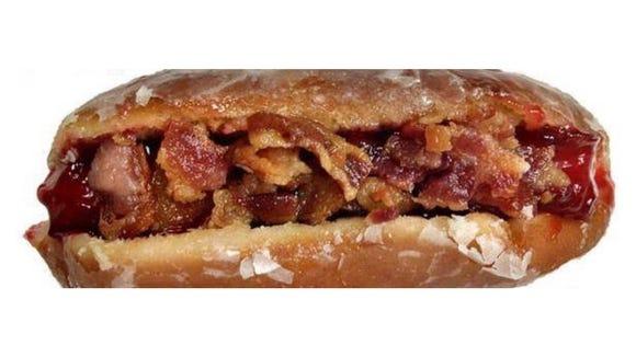 "The Wilmington Blue Rocks' ""The Sweeney"": Hot dog, doughnut, bacon and jam."