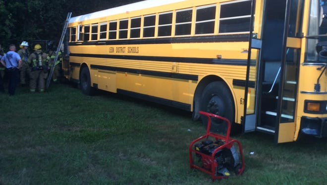 A Leon County Schools bus caught fire Tuesday evening.
