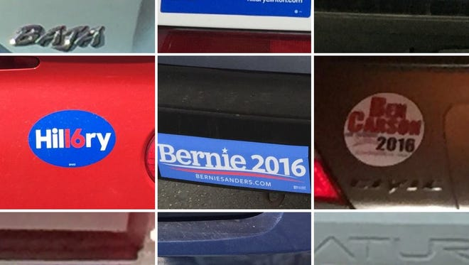 A collage of presidential election 2016 bumper stickers seen in the Coachella Valley since 2015.