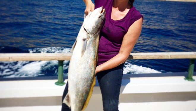 Kristen Santangelo of Thousand Oaks caught a 25-pound white seabass on a private charter aboard the Island Tak.