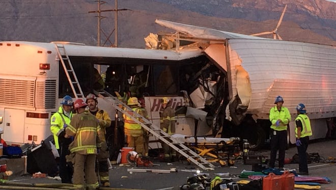 A tour bus and big rig collided on Interstate 10 near Palm Springs, Calif. on Oct. 23, 2016.