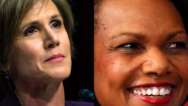 Former Acting Attorney General Sally Yates, left, and former Secretary of State Condoleeza Rice.