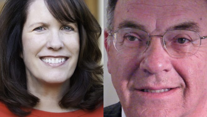 Vanderburgh County Commissioner Cheryl Musgrave, left, and Vanderburgh County Republican Party Chairman Wayne Parke, right.